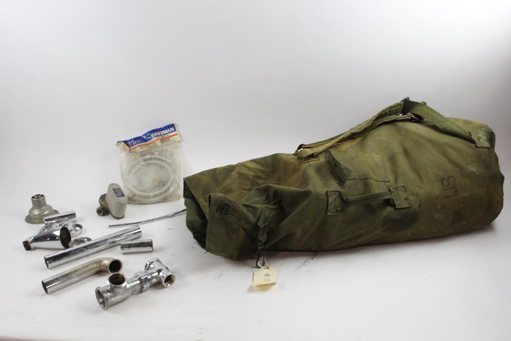 Assorted Plumbing Ings In Army Surplus Duffle Bag