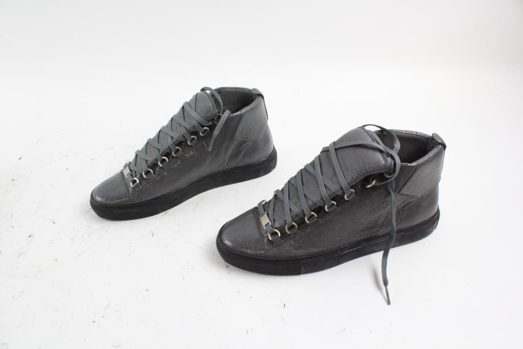 62e94793b80 Black Balenciaga Hightop Arena Shoes, Dark Grey, Mens Size 42/9 ...