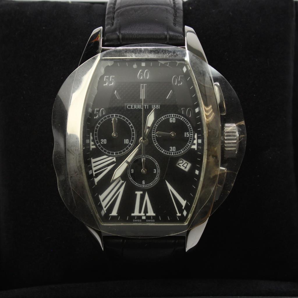 ffe60e21259 Black Leather Cerruti Grande Classico Chronograph Watch | Property Room
