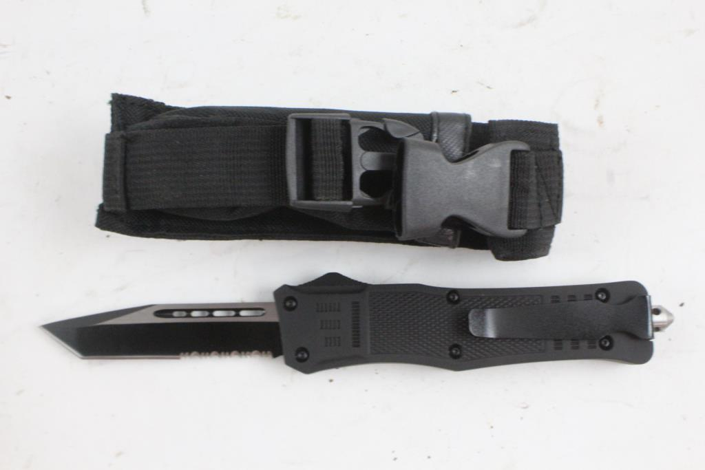 Black Push Button Knife With Microech Case | Property Room