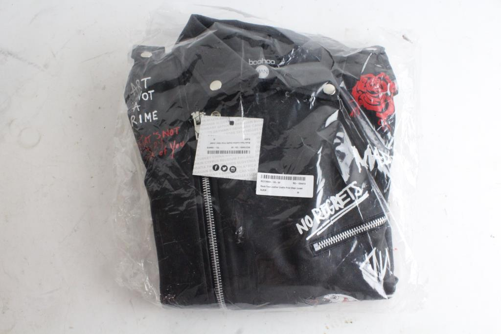 7077bdfcf Boohoo Man Faux Leather Biker Jacket, Size L   Property Room