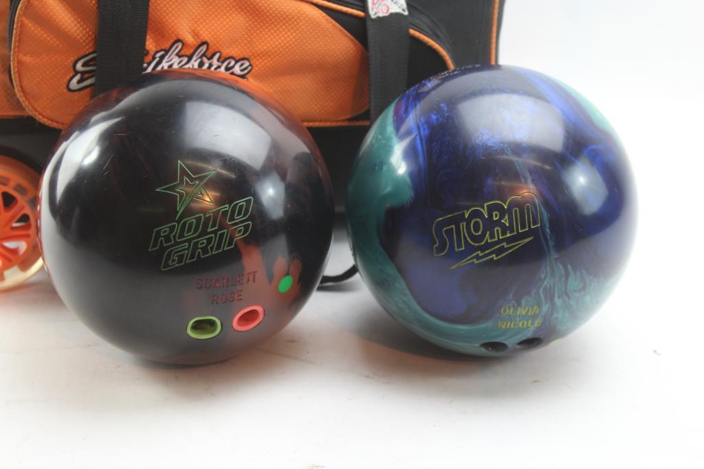 Bowling Balls Rolling 2 Ball Bag 3 Items