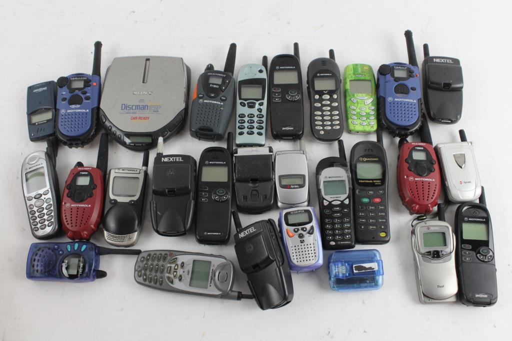 Bulk Walkie Talkie And Old School Cell Phone Lot Property Room