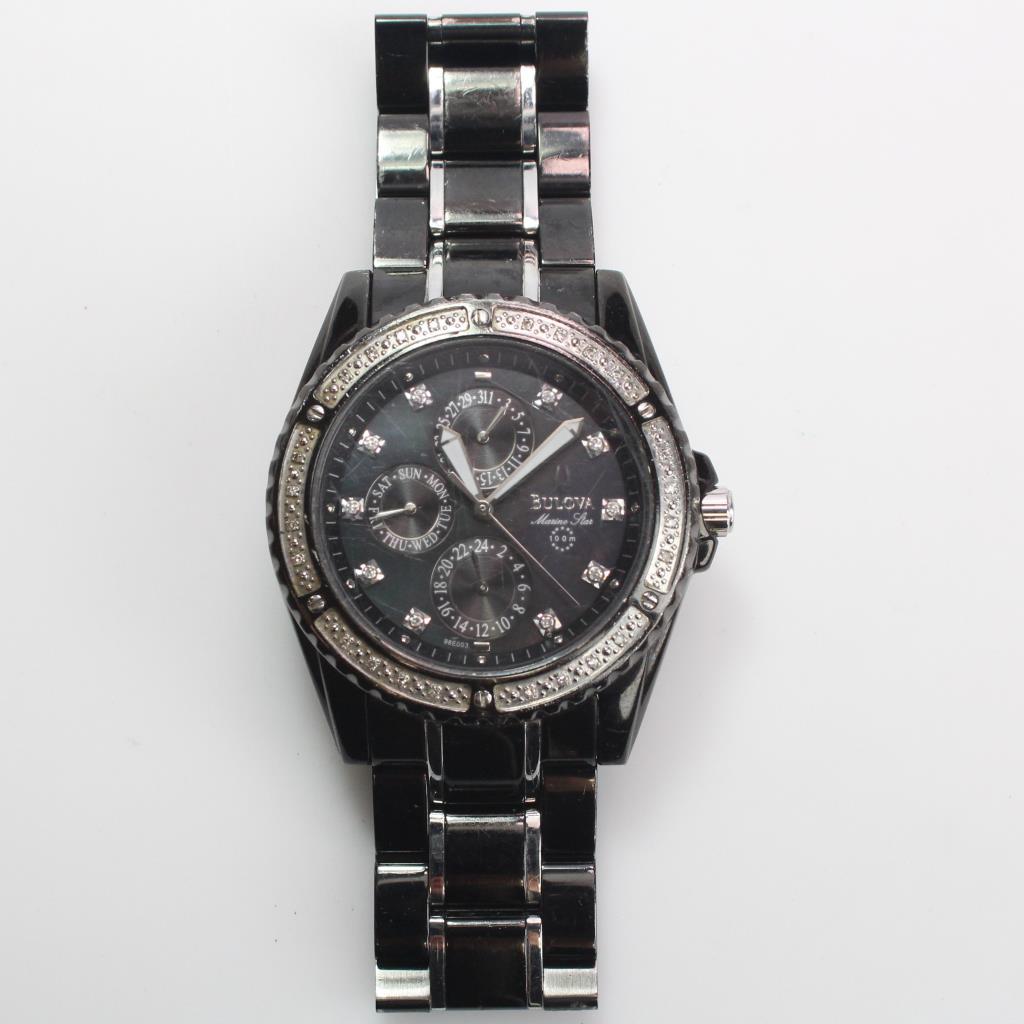 13613f60042e Image 1 of 5. Bulova Marine Star Diamond Accented Watch