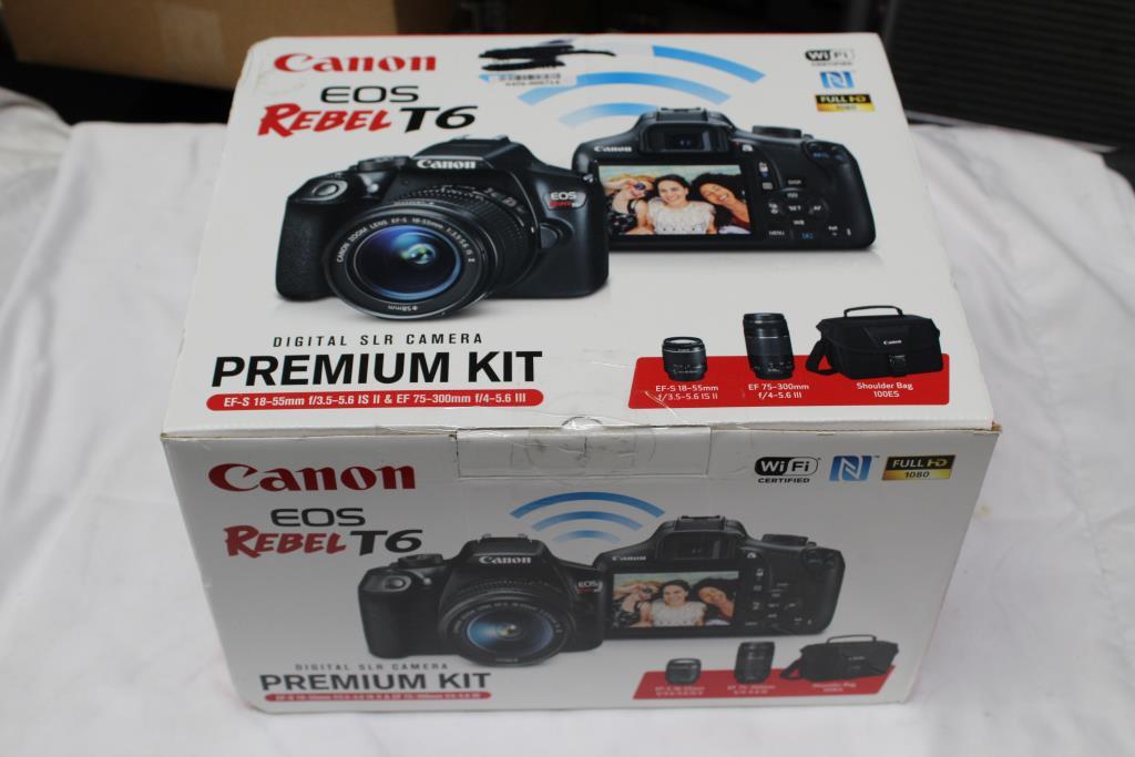 Canon Eos Rebel T6 Digital Slr Camera Premium Kit Property Room
