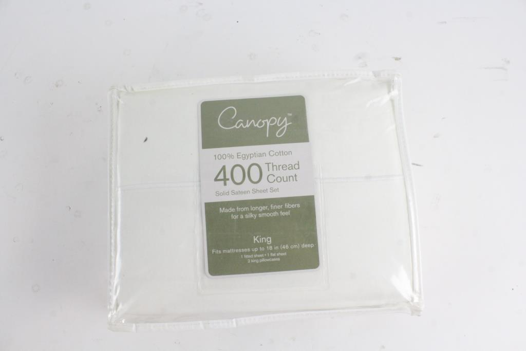 Image 1 of 2. Canopy Egyptian Cotton King Size Sheet Set & Canopy Egyptian Cotton King Size Sheet Set | Property Room