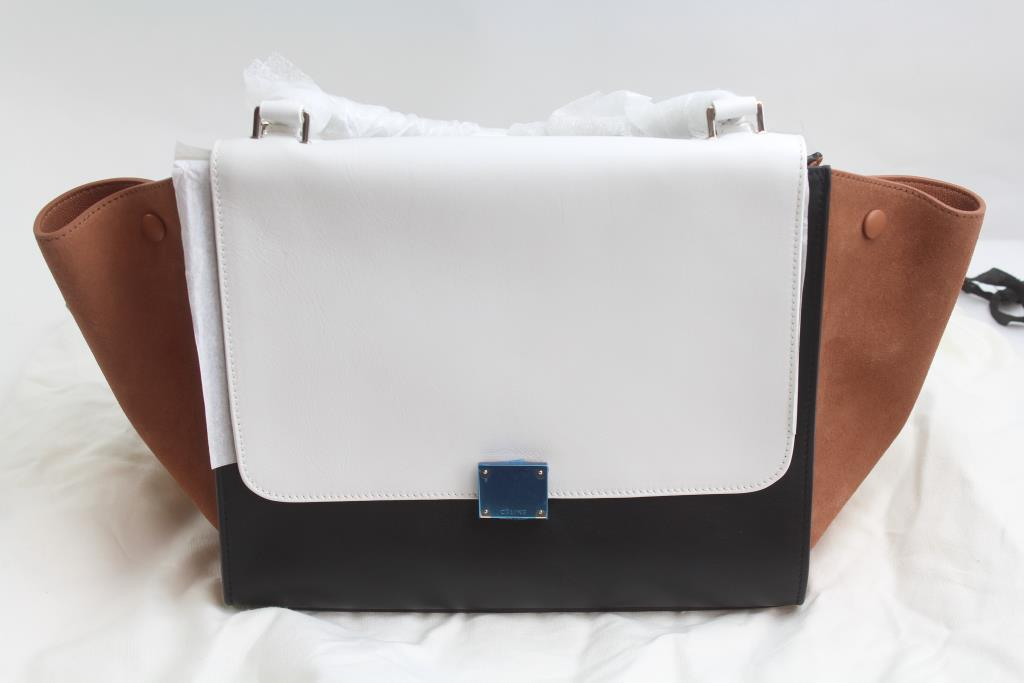 150a3227aa Celine Medium Trapeze Bag In Tricolor Smooth Calfskin