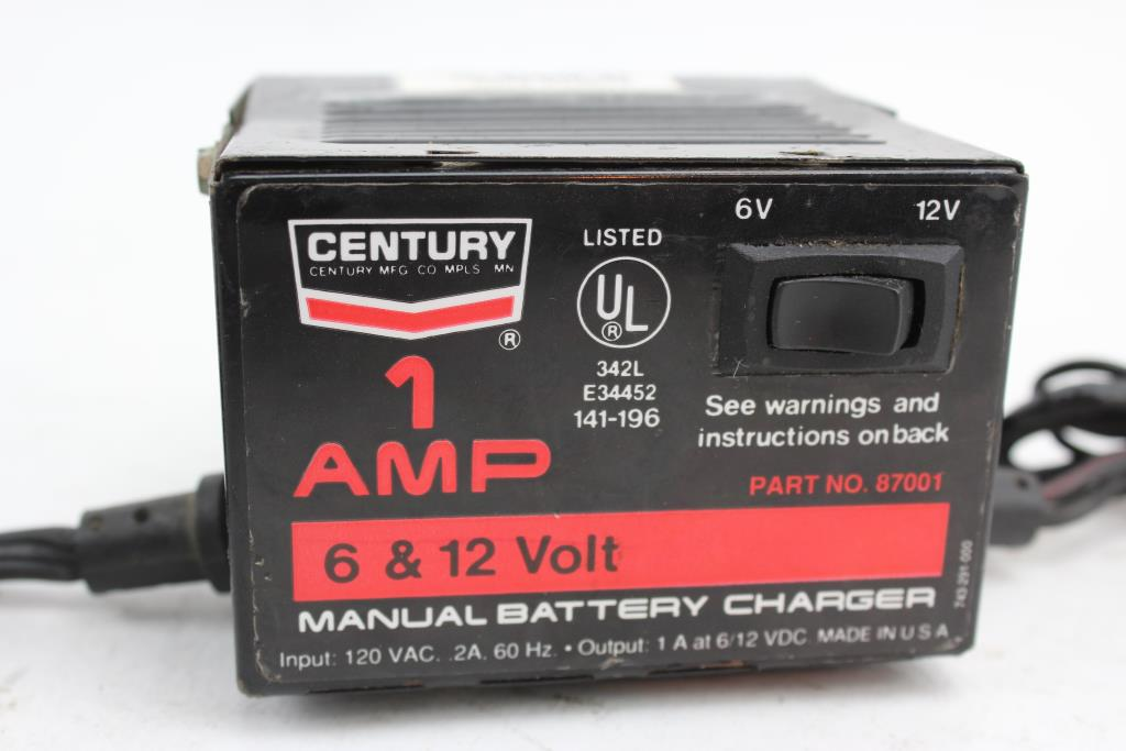 century manual battery charger model 87001 property room rh propertyroom com century battery charger model 87105 manual century battery charger 87106 manual