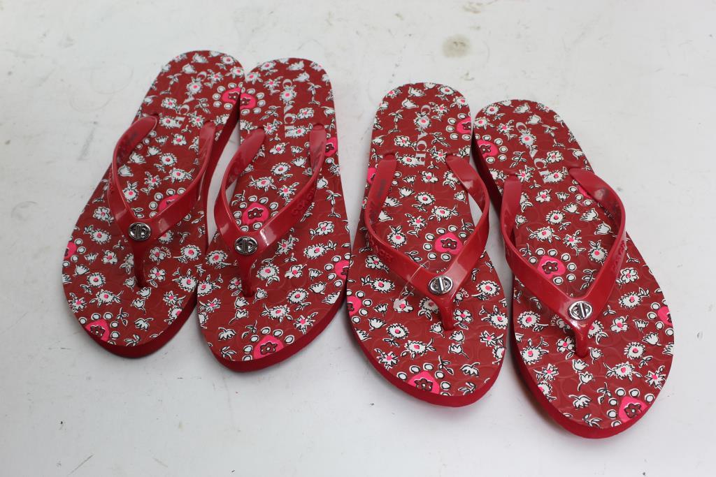 e8c024d9d3630 Coach Red Abbigail Flip Flop Sandals