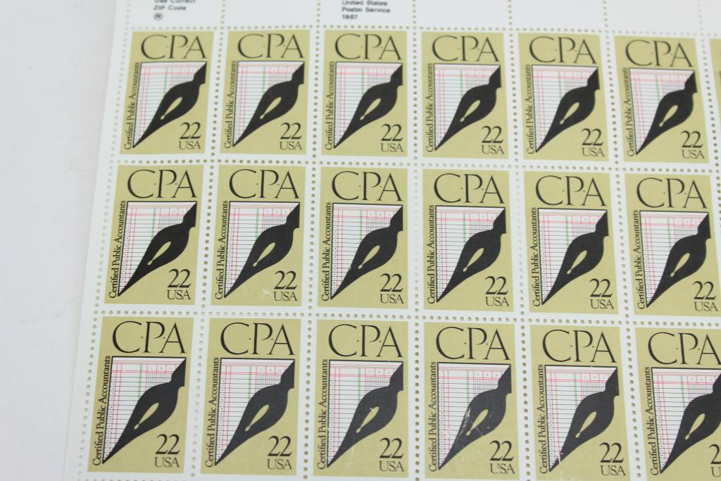 CPA 22 Cent US Postage Stamp Sheet