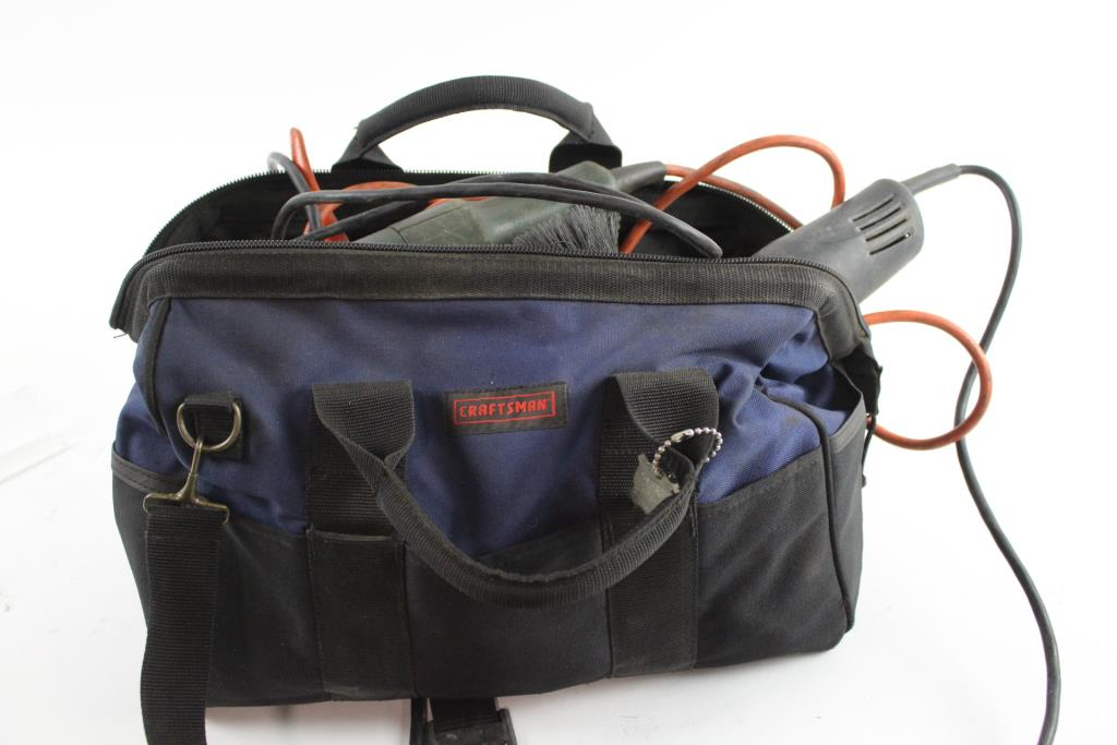 Craftsman Tool Bag With 2 Angle Grinders And Hand Tools 20 Pieces