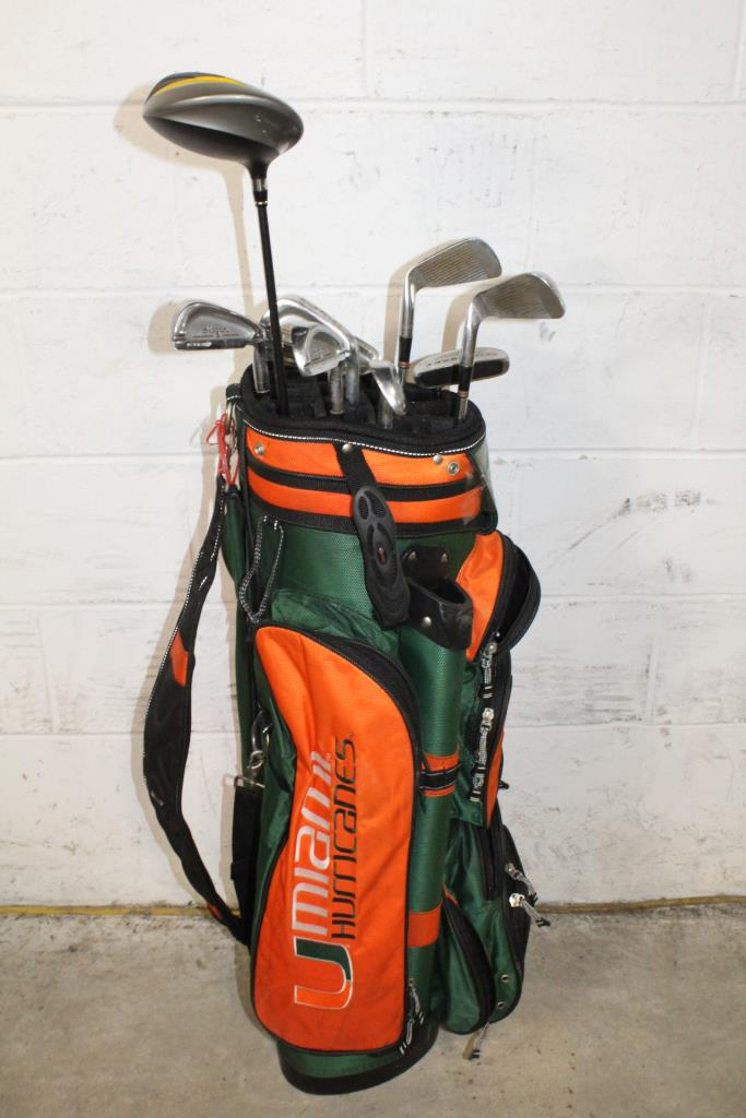 Datrek Miami Hurricanes Bag With Clubs 11 Pieces