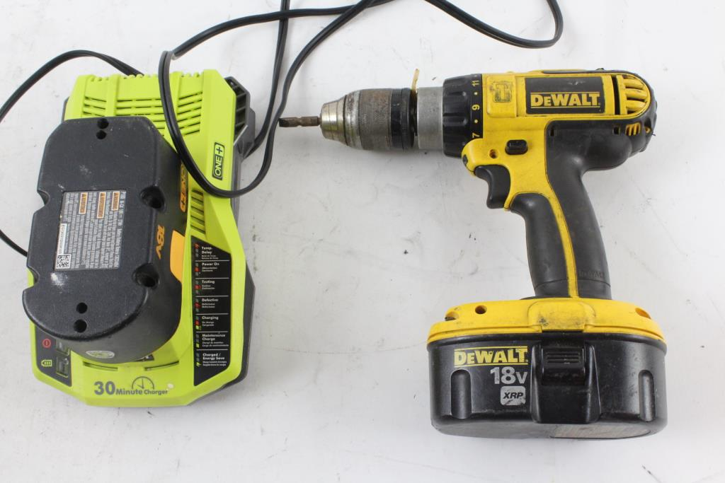 Image 1 Of 3 Dewalt Cordless Drill With Ryobi Battery Charger