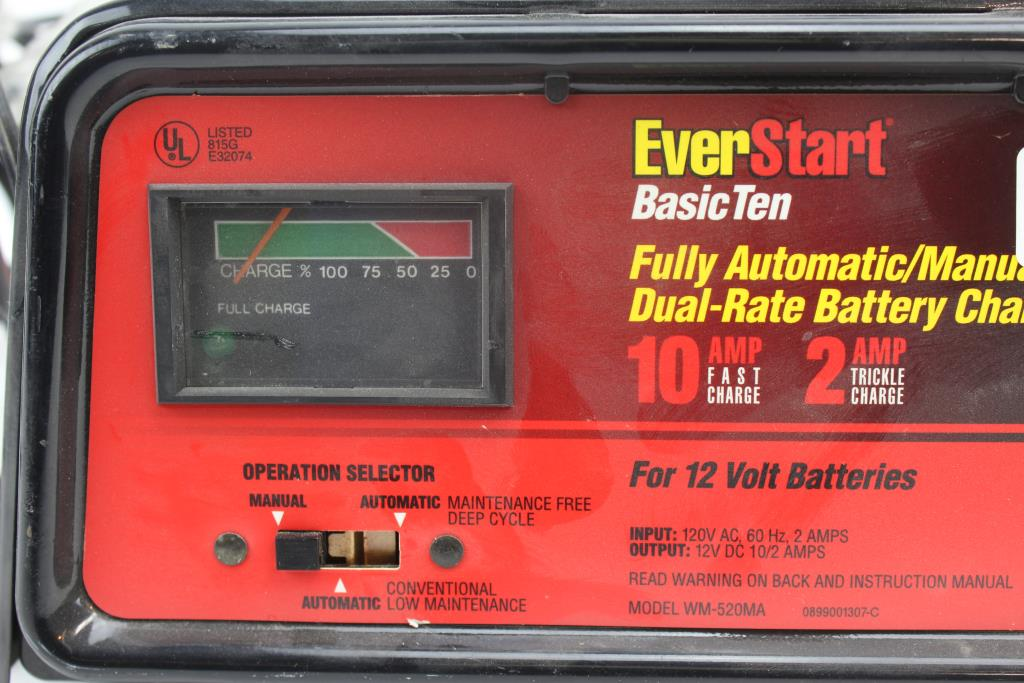 Everstart Fully Automatic Manual Dual Rate Battery Charger