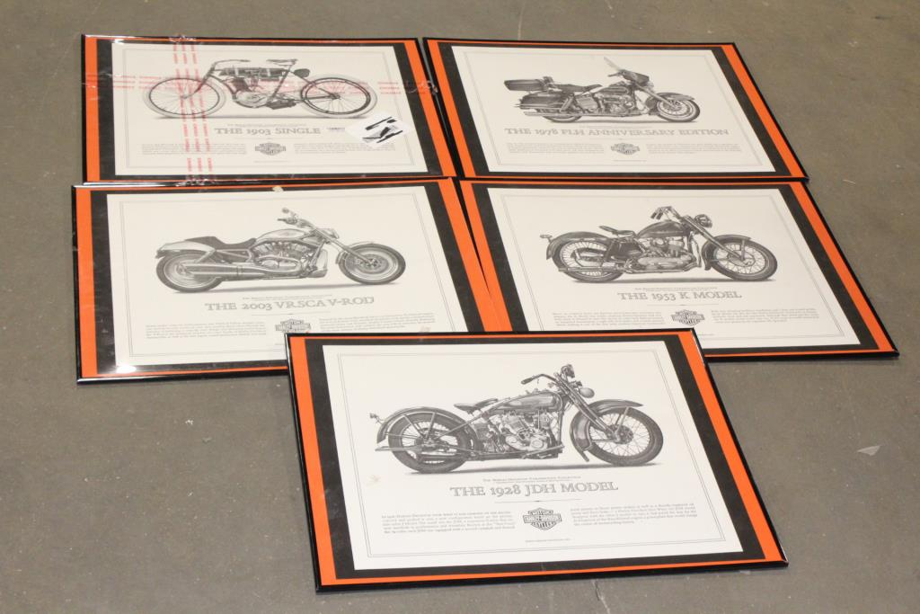 Framed Pictures Of Harley Davidson Motorcycles, 5 Pieces | Property Room