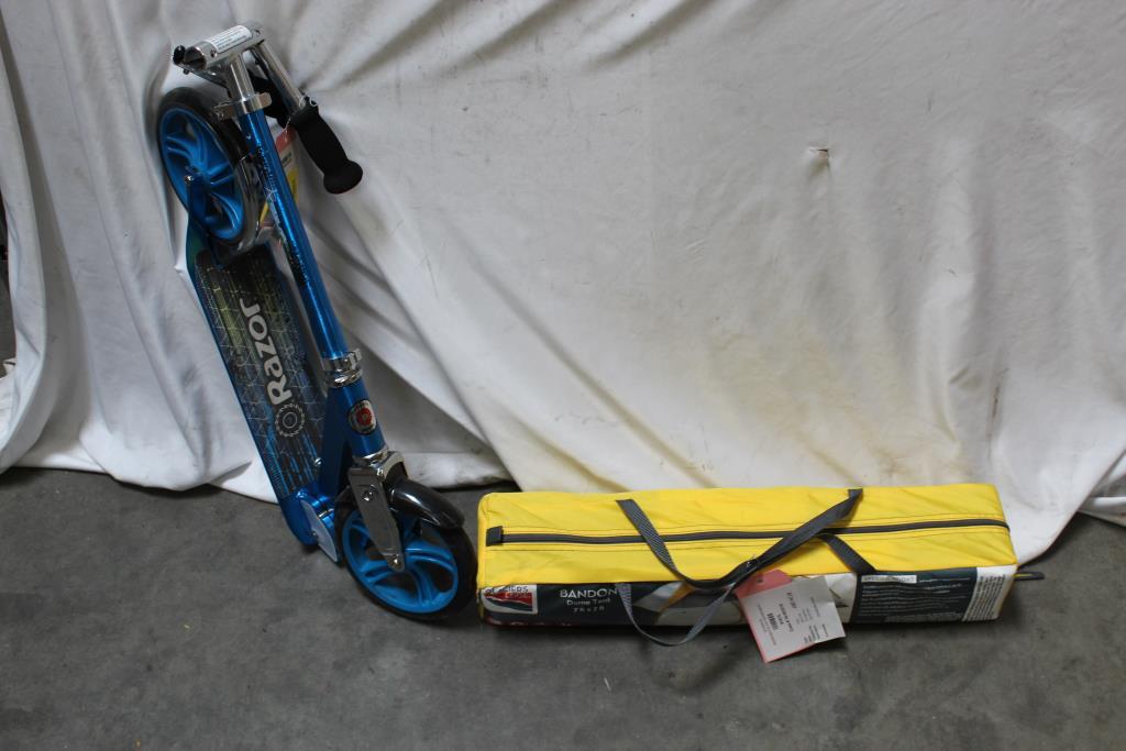 Image 1 of 3. Glacier Tent Razor Scooter 2 Pieces & Glacier Tent Razor Scooter 2 Pieces | Property Room
