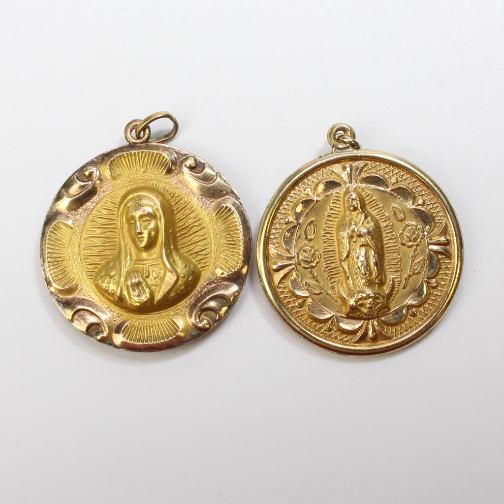 Gold filled 257g pair of religious pendants property room gold filled 257g pair of religious pendants aloadofball Images