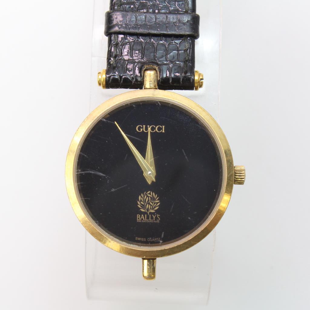 3e1cb18ab80 Gucci Bally S Employee Gold Tone Black Dial Alligator Grain. Gucci 3000m  Roman Numeral Bezel Round Black Gold Wrist Watch Mens Womans 401039042092 8