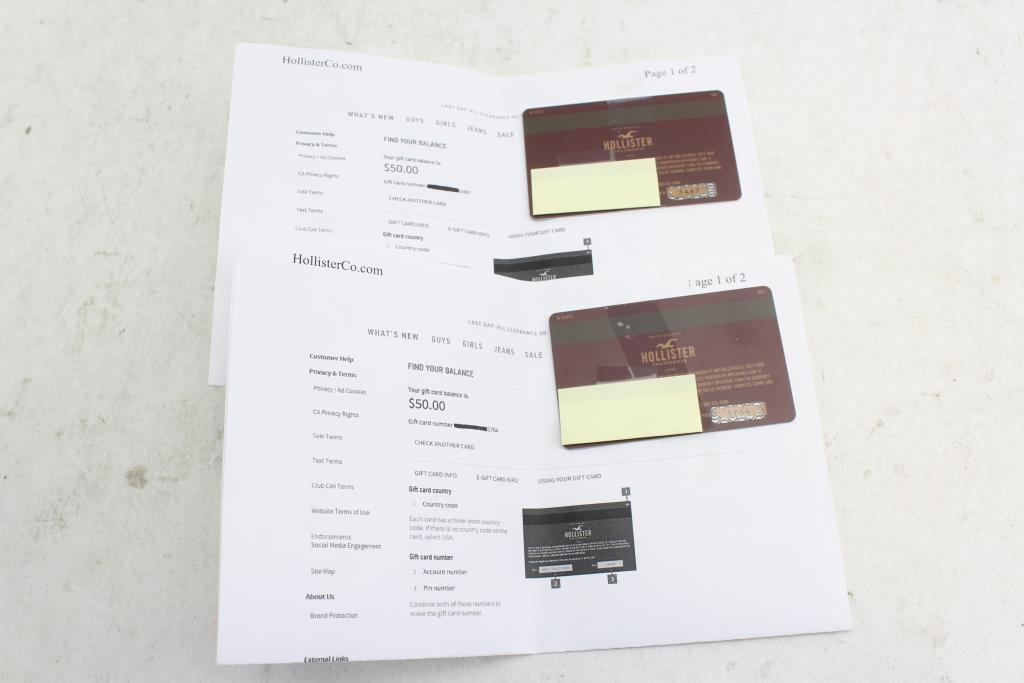 Hollister Gift Card $100 Value