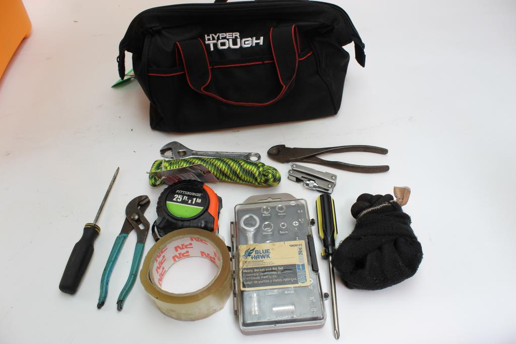 Hyper Tough Tool Bag With Assorted Tools 10+ Pieces