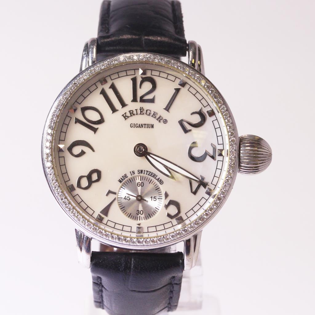 Krieger gigantium diamond bezel black leather men 39 s watch property room for Black bezel watches