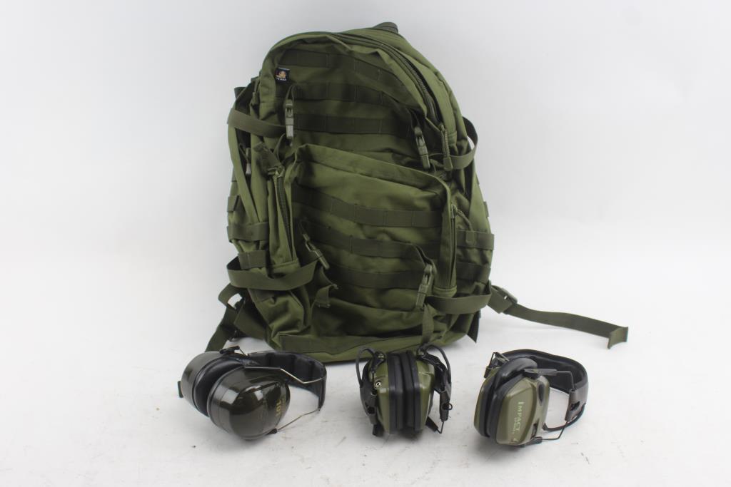 L A  Police Gear Backpack & Earmuffs