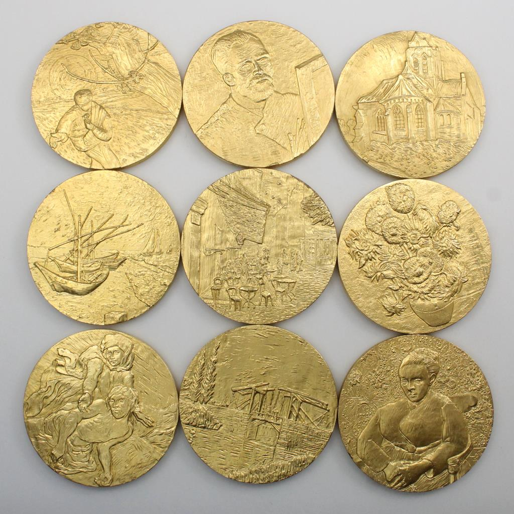 Lot Of 9 Gold Plated Vincent Van Gogh Franklin Mint Coins ...