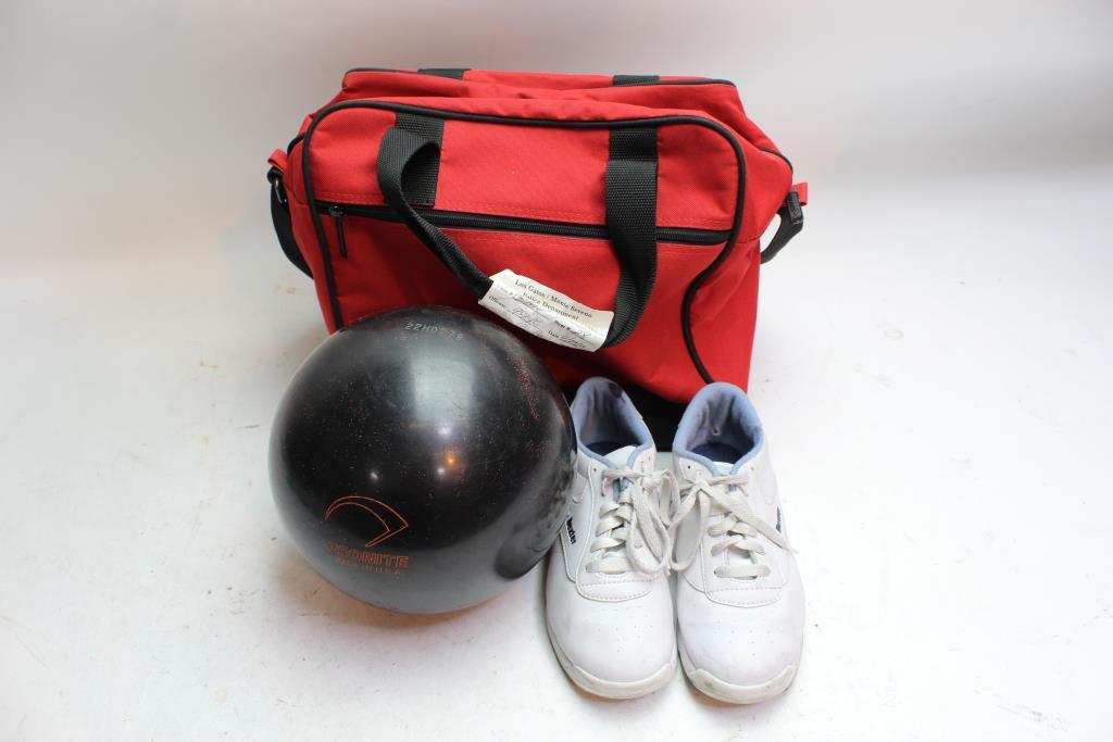 Maxim Bowling Ball Dexter Shoes Ebonite Bag Bulk Lot 3 Pieces