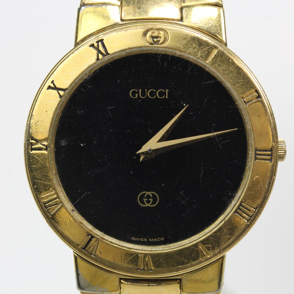 741b1876e Mens 18kt Gold Plated Gucci 3300M Watch