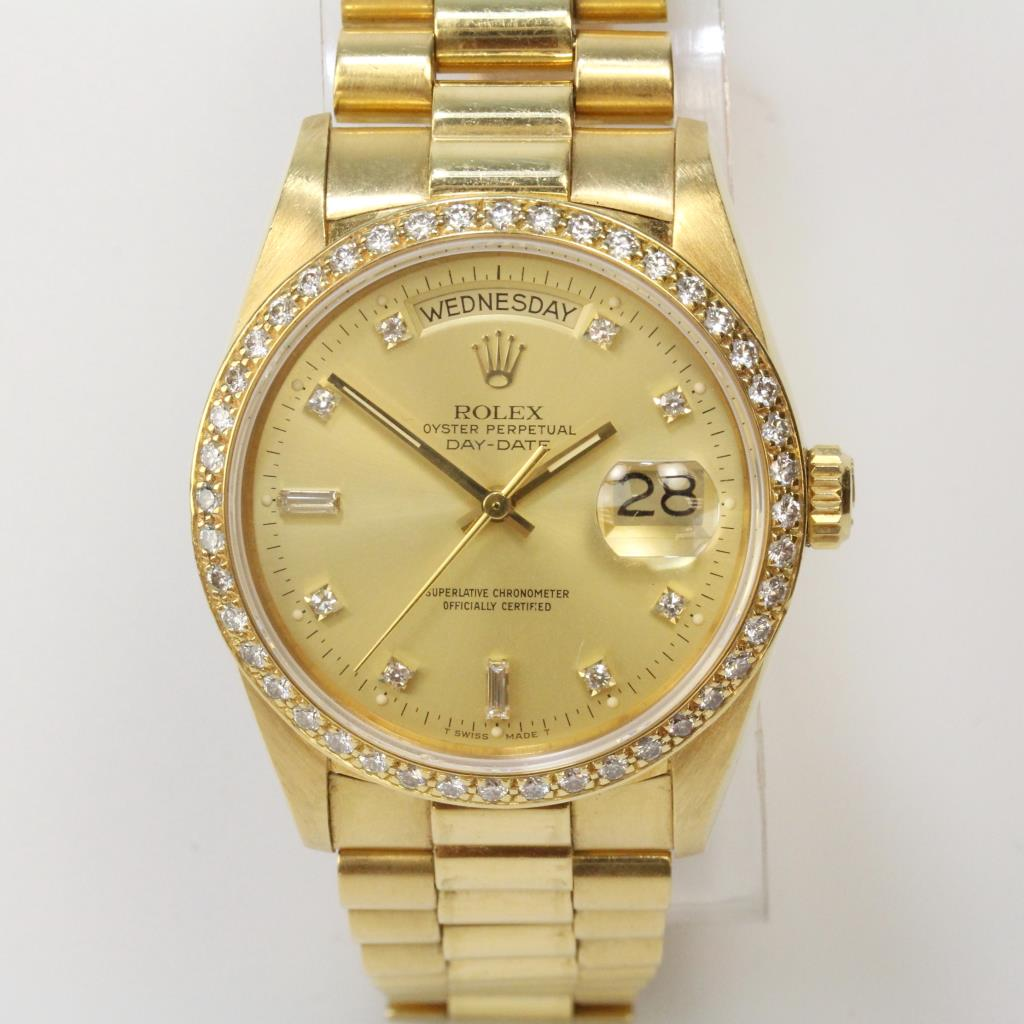 Rolex Day Date 18kt Gold Diamond Watch With Box