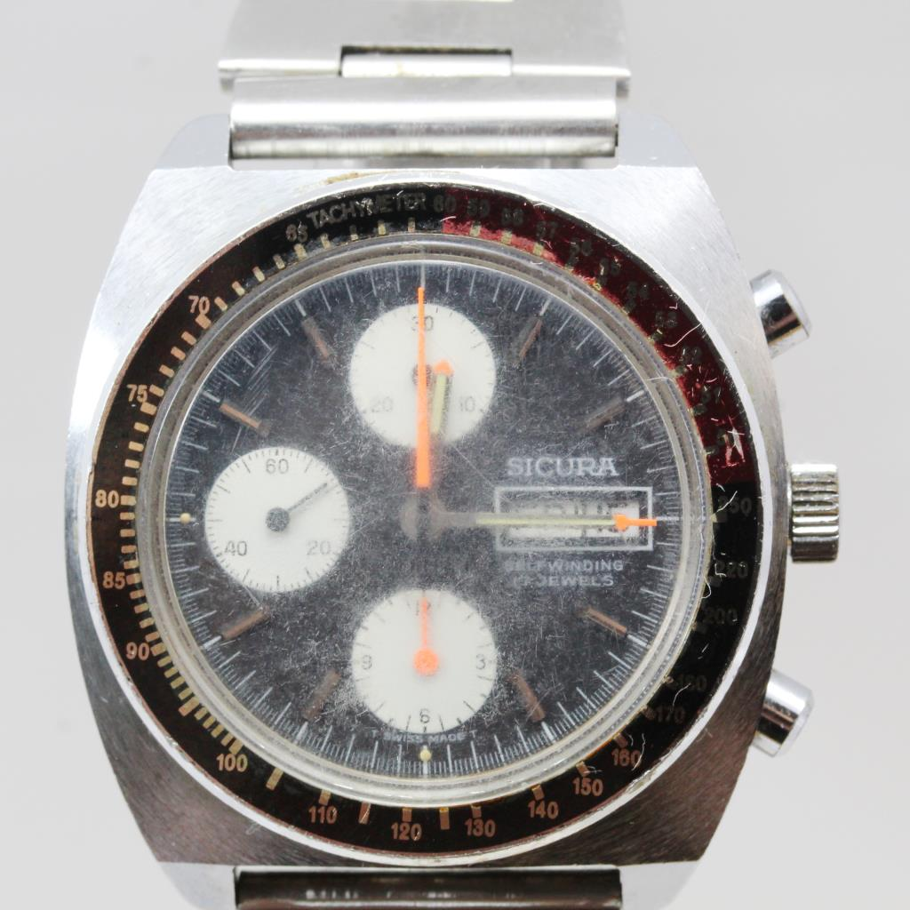 Men S Vintage Sicura Breitling Chronograph Watch