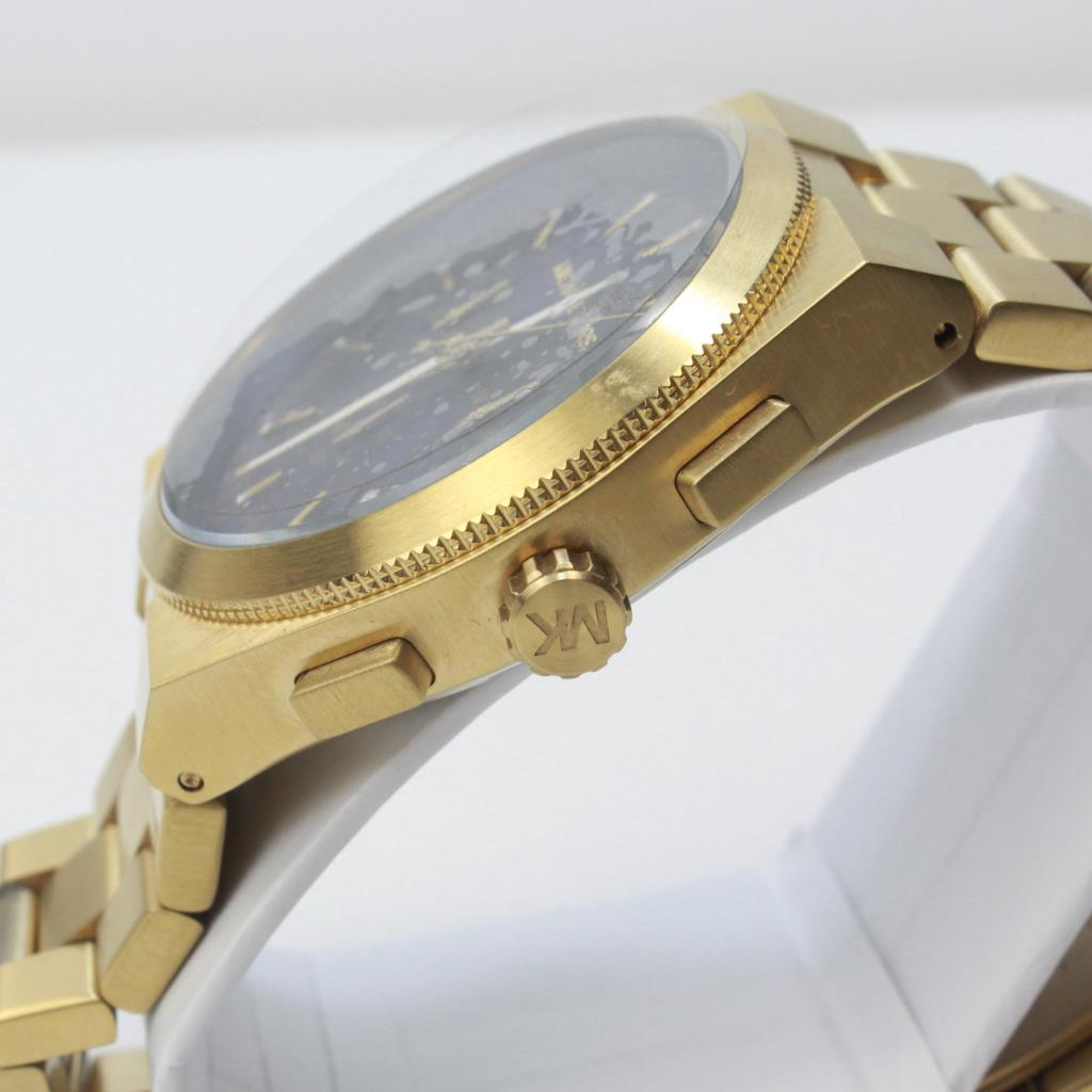 b69bab501f3 Michael Kors Brooks Chronograph Gold Tone Blue Dial Men s Watch ...