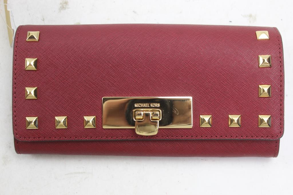 dcc89889945f3a Michael Kors Callie Stud Saffiano Leather Carryall Wallet | Property ...