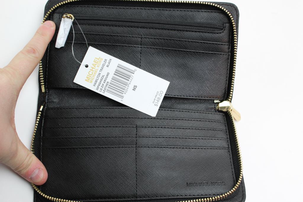 d6a781867a245 Michael Kors Hamilton Traveler Black Pebbled Leather Large Zip Around Wallet