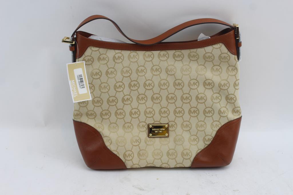 Michael Kors Millbrook Lg Fabric And Leather Shoulder Handbag Purse