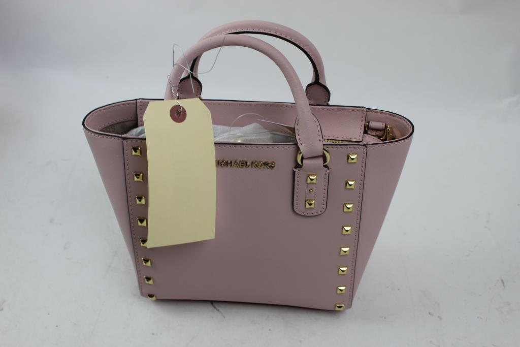 3e35ce674004cd Michael Kors Sandrine Stud Small Leather Crossbody Handbag ...