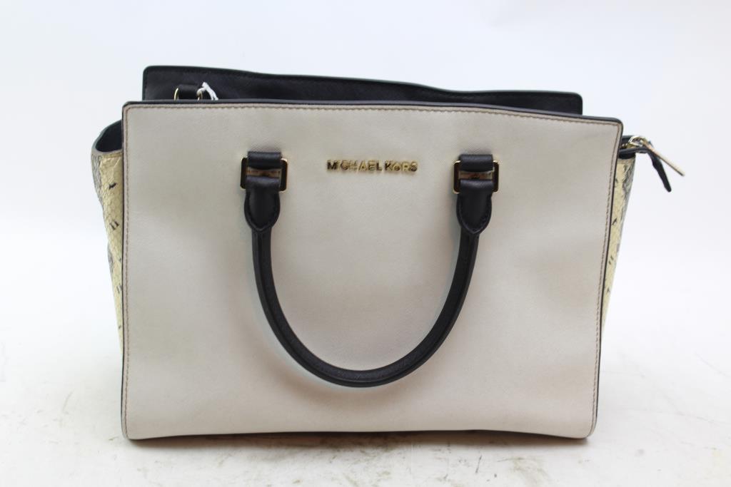 ae8791498949 ... sweden michael kors selma large black white satchel bag 30e88 188c0