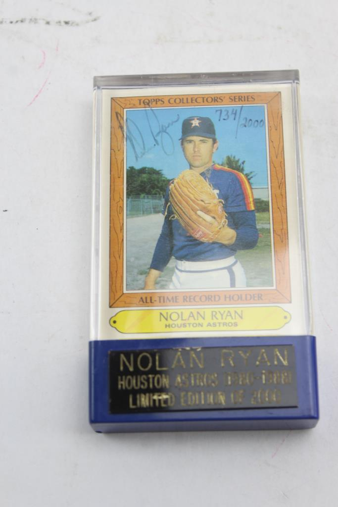Nolan Ryan Limited Edition Autographed Baseball Card In Plastic Case