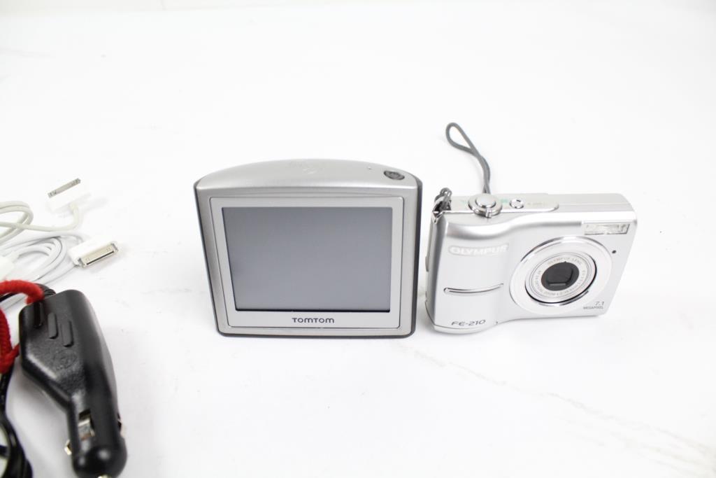 Olympus FE-210 Digital Camera And TomTom GPS, 2 Items