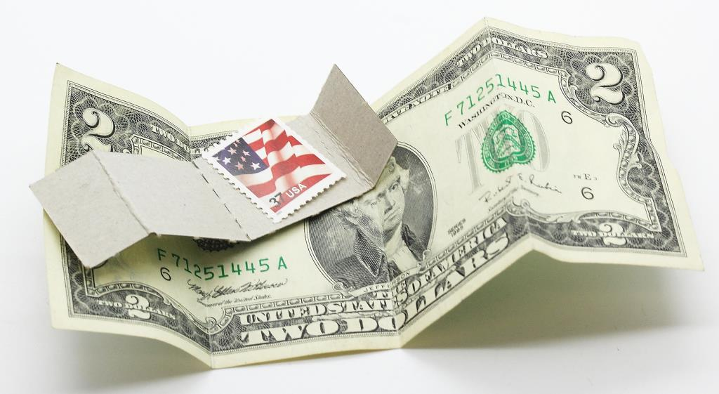 Image 1 Of 2 One Dollar Bill And An American Flag Stamp