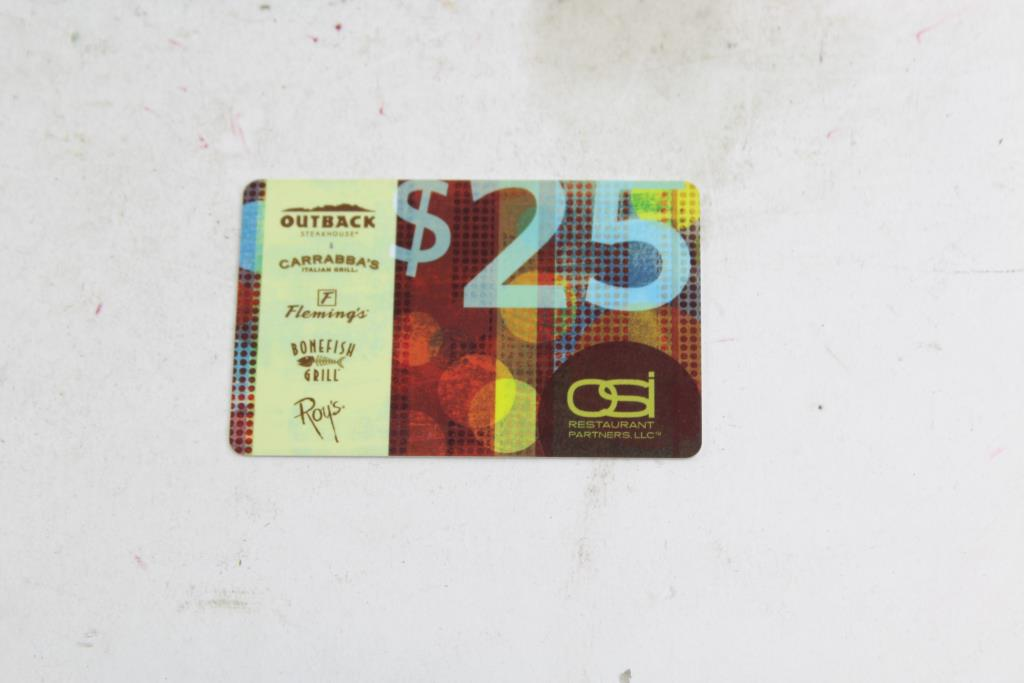 osi restaurant partners OSI Restaurant Partners Gift Card; Card Amount: $25.00 | Property Room