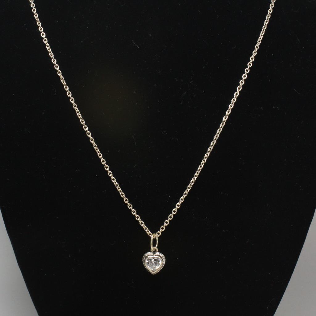 Pandora Silver Sparkling Love Heart Pendant Necklace 8 44g Property Room