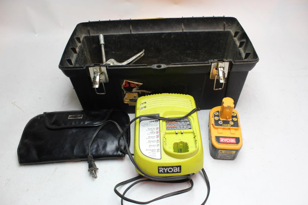 Plastic Toolbox, Ryobi 18V One+ Battery Pack And More | Property Room