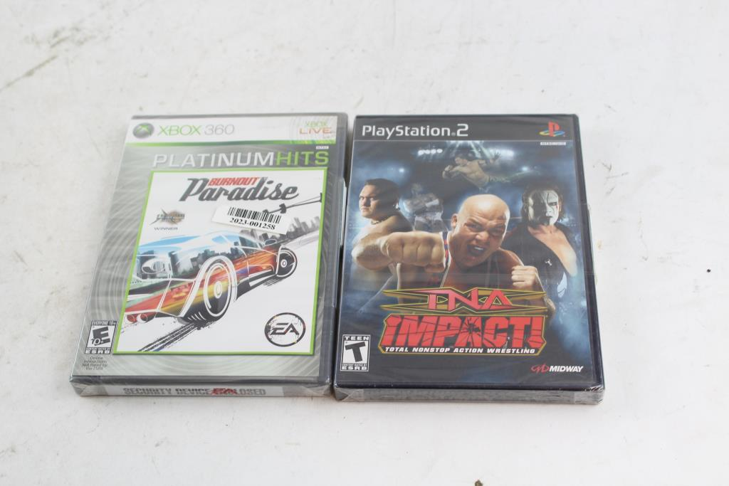 playstation 2 tna impact and xbox 360 burnout paradise games 2 rh propertyroom com
