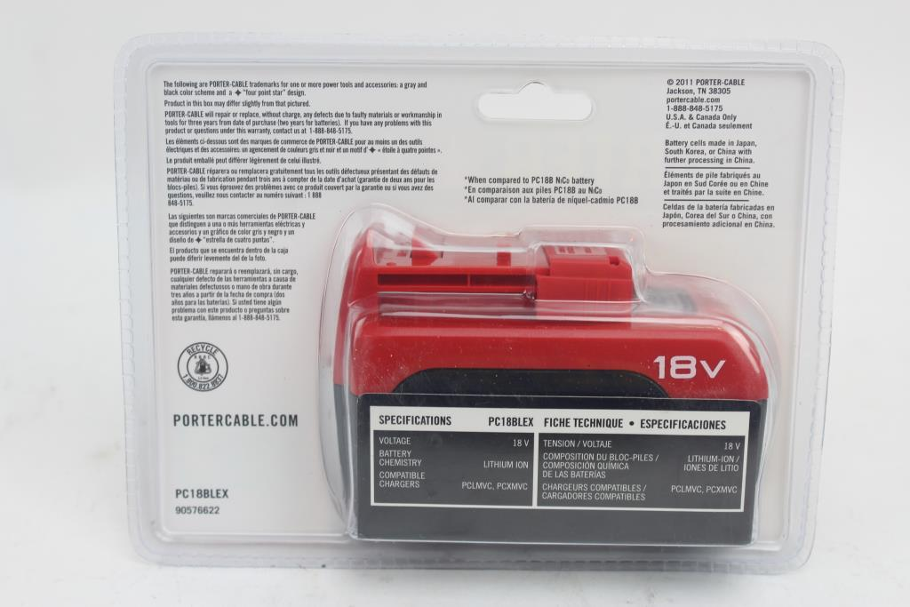 Porter Cable 18v Lithium Ion Ex Battery Pack Model