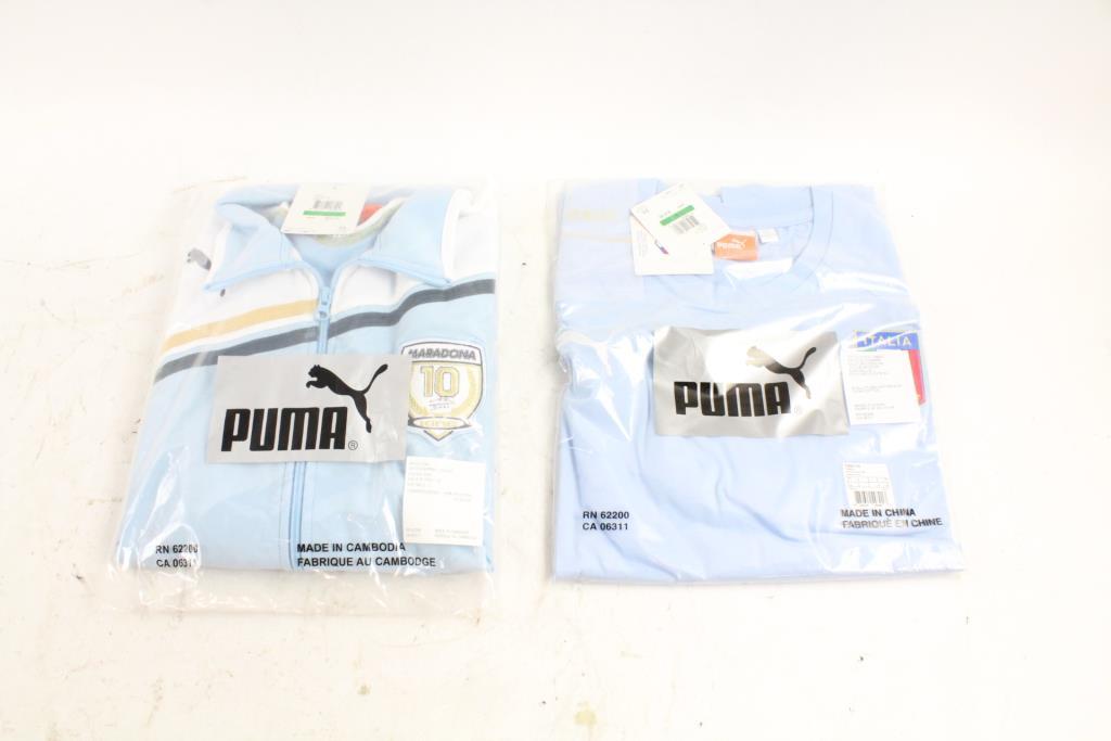Puma Maradona Track Jacket And Italia T Shirt Size L