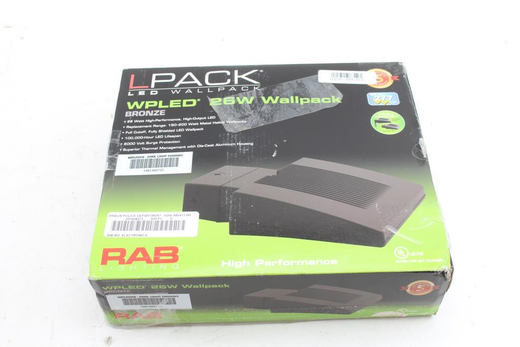 Rab Lighting Wpled26 26 Watt Led Wallpack Light Fixture