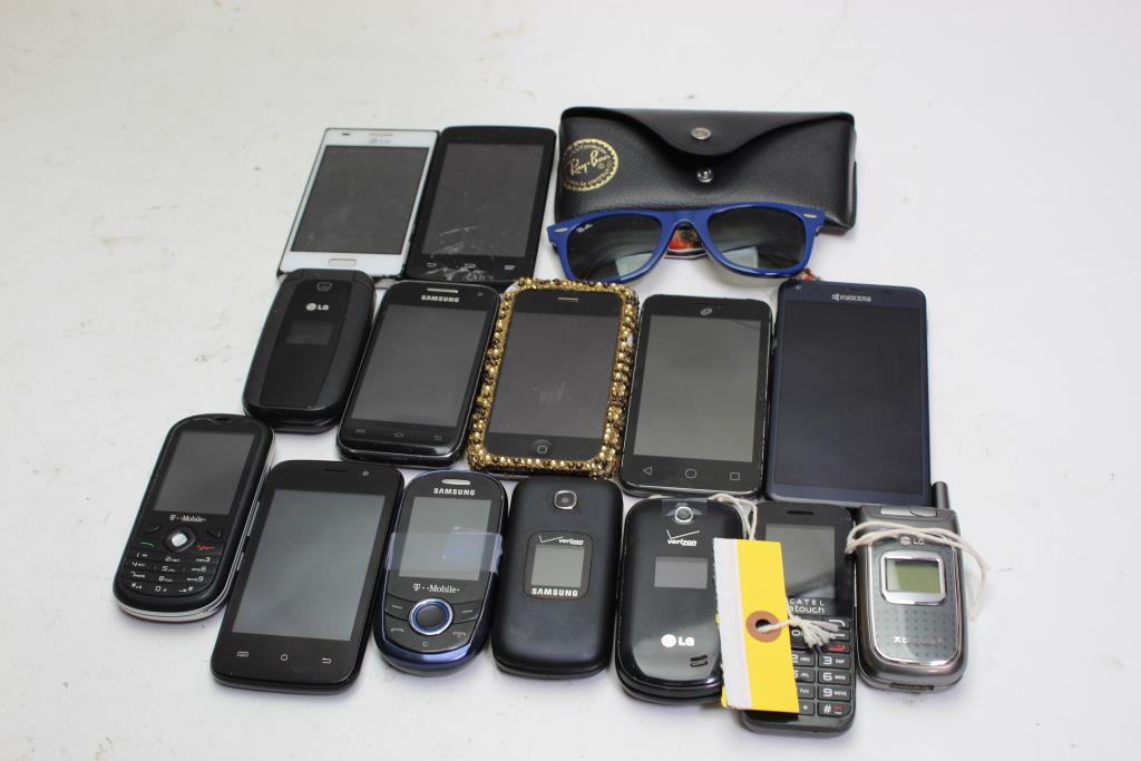 Ray Ban Sunglasses And Cell Phone Lot 14 Pieces Sold For Parts