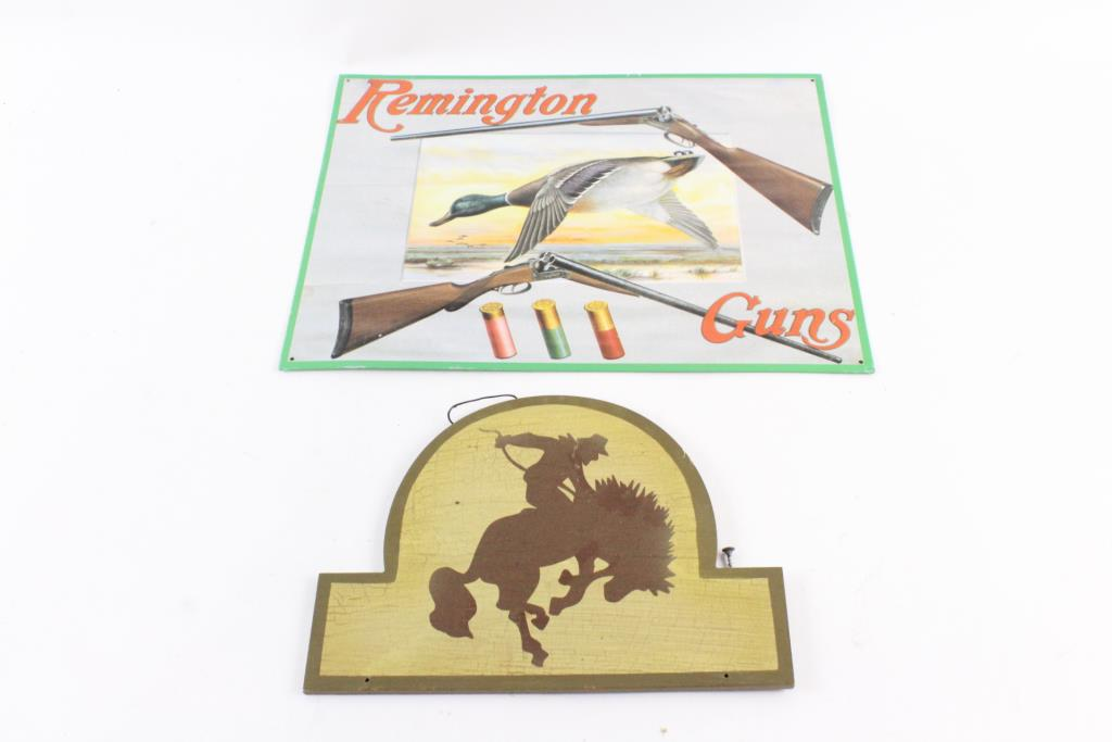 Remington Gun Tin Sign And Other Signs, 9 Pieces | Property Room
