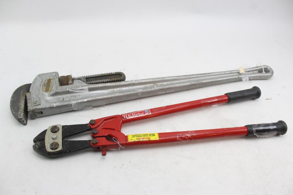 Ridgid 36  Aluminum Straight Pipe Wrench u0026 HKPorter 24  Bolt Cutters; 2 Pieces & Ridgid 36